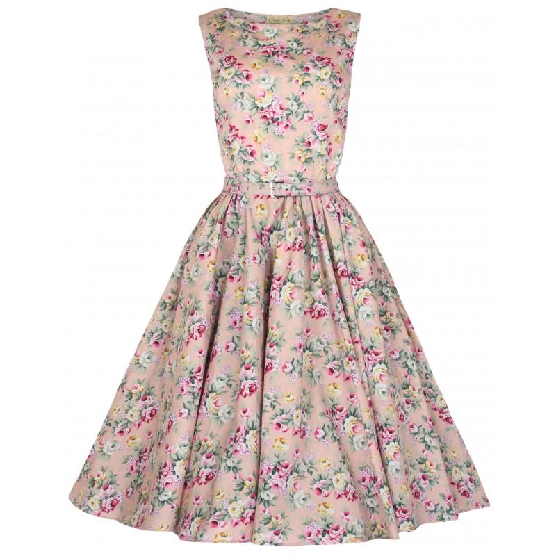 Robe Vintage Rose Poudre Motif Fleuri Audrey Au Rendez Vous Des