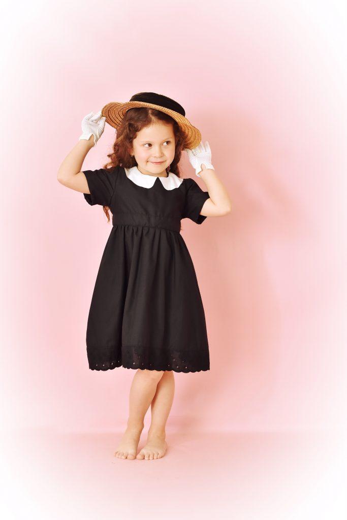 robe vintage noire col claudine blanc t 4ans au rendez vous des pin up. Black Bedroom Furniture Sets. Home Design Ideas
