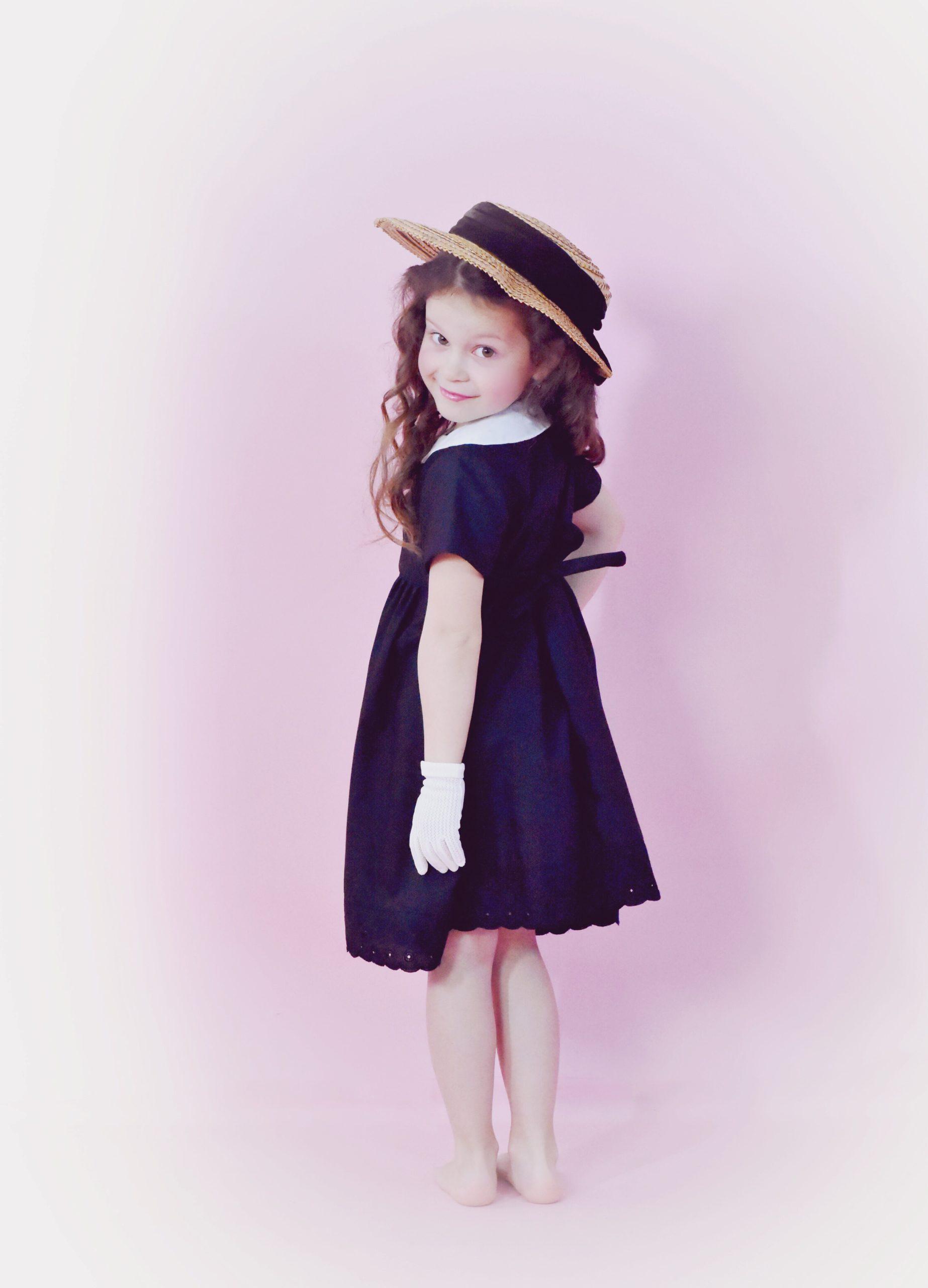 Robe Vintage Noire Col Claudine Blanc T 4ans Au Rendez Vous Des Pin Up