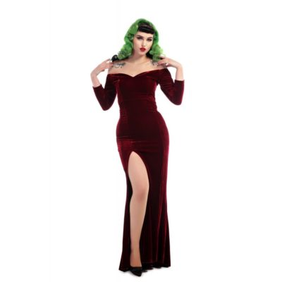 Robe longue pin-up bordeaux